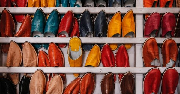 Available colorful shoes on a shelf